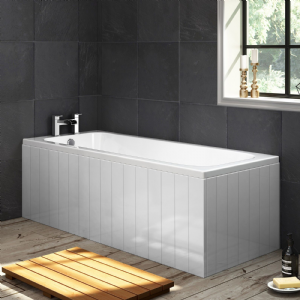 Tongue and Groove High Gloss White 1 Piece Bath Panels